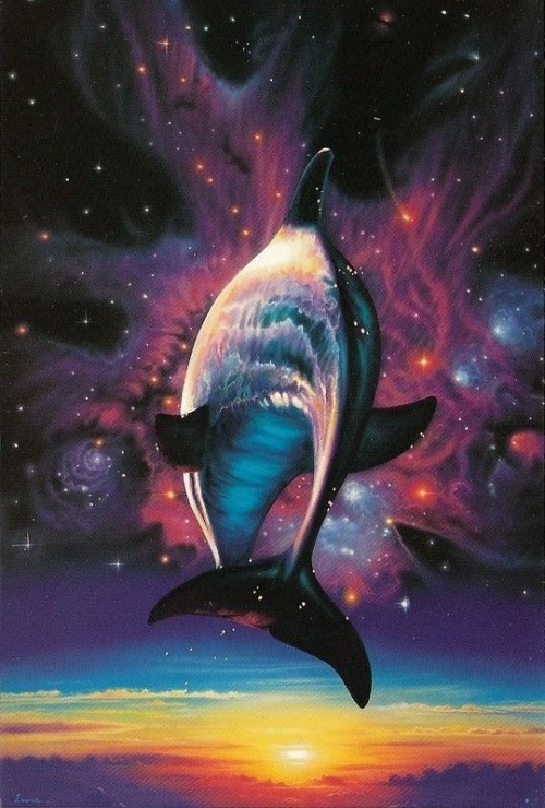 Cosmic dolphin. Artwork by Christian Riese Lassen.
