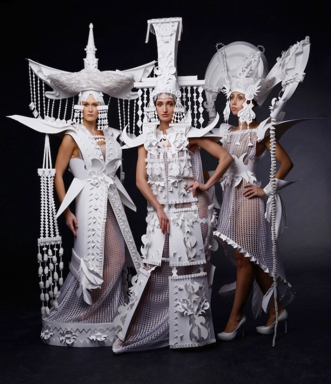 Ornate Mongolian Wedding Costumes Made Out of Paper by Asya Kozina