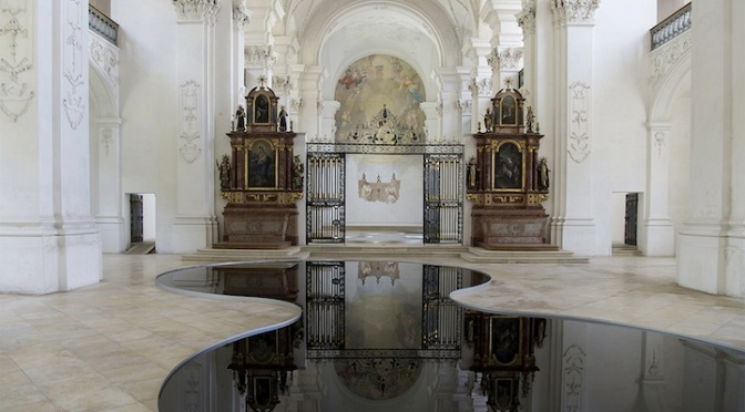 Pools of Recycled Motor Oil Reflect Spectacularly in Switzerland's Bellelay Abbey