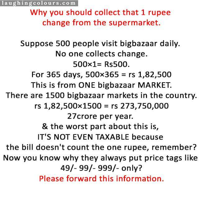 Reminder to everyone – why one should collect 1Rs. change from the supermarket?.. though it's common yet needs to be reminded