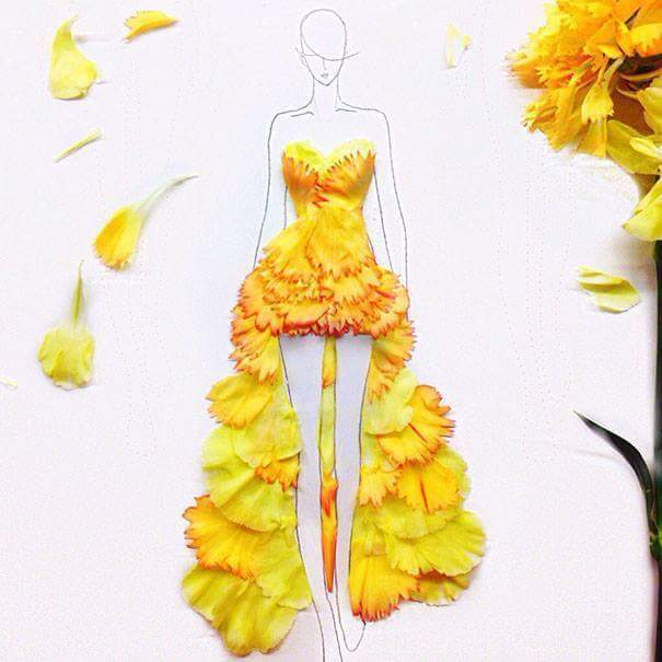 Artist turns real flower petals into fashion apparels