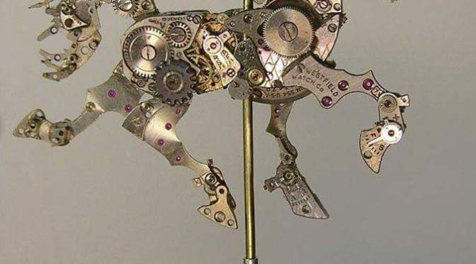 American artist Sue Beatrice makes some amazing sculptures from old watch parts