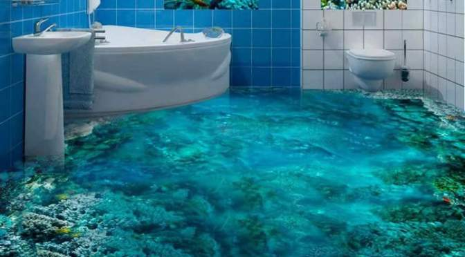 3D bathroom floors that will keep your eyes stucked before you raise your step forward
