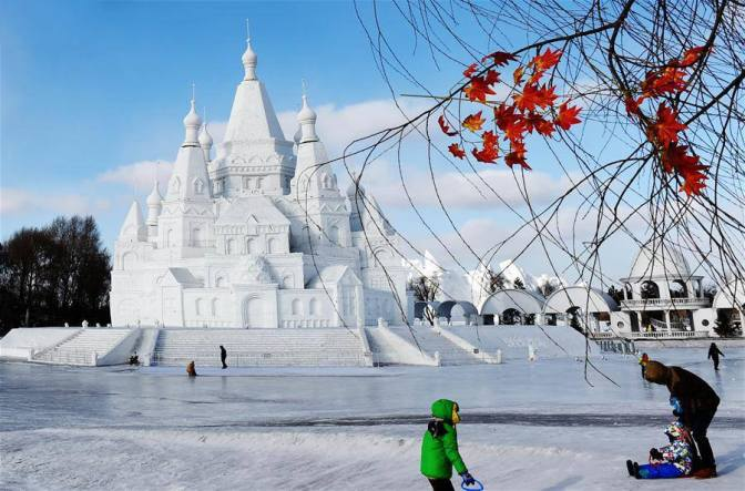 The world's highest snow castle on display in Harbin