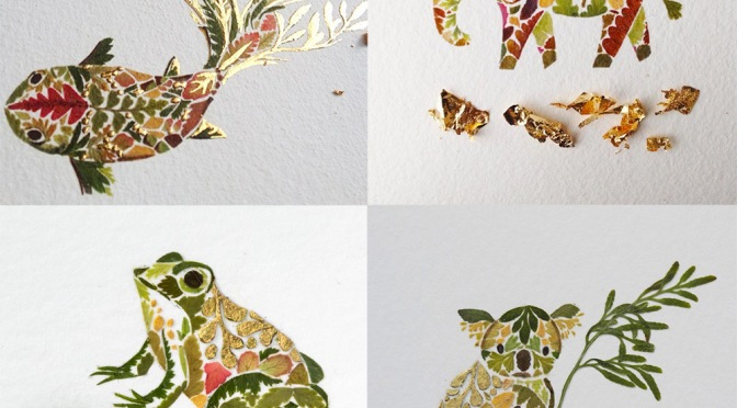 Pressed Fern, Algae, and Gold Leaf Illustrations by Helen Ahpornsiri