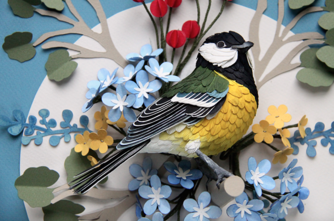Diana Beltran Herrera paper aviary comprises hundreds of sculptural birds, flowers, plants and insects.
