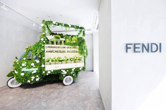 Vintage Vehicle into an Adorable Pop-Up Flower Shop by Fendi & Azuma Makoto
