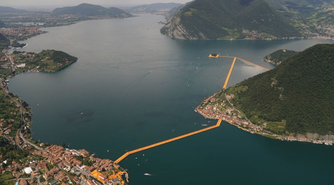 """The Floating Piers"" a giant art installation on Lake Iseo in Italy is letting people walk on water"