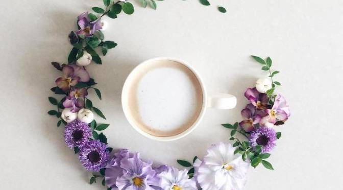 This Japanese Instagrammer keeps beautiful visual diary of coffee she drinks surrounded by flowers creating incredible piece of art each day.