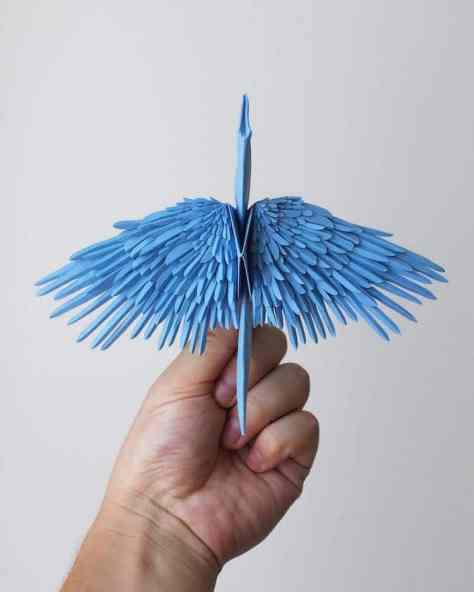 Artist Creates Breathtaking Paper Cranes With Feathery Details